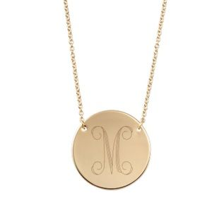 "16"" Gold M Initial Engraved Disc Necklace New"